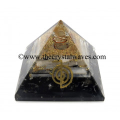 Black Tourmaline & Selenite Chips Orgone Pyramid With Cho Ku Rei Symbol