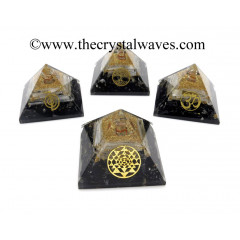 Black Tourmaline & Selenite Chips Orgone Pyramid With  Mix Assorted Symbol