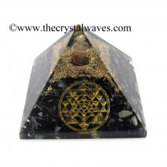 Black Tourmaline Chips Orgone Pyramid With Yantra Symbol