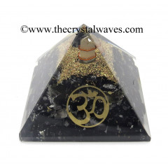 Black Tourmaline Chips Orgone Pyramid With Om Symbol