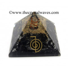 Black Tourmaline Chips Orgone Pyramid With Cho Ku Rei Symbol