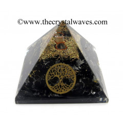 Black Tourmaline Chips Orgone Pyramid With Tree Of Life Symbol