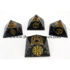 Black Tourmaline Chips Orgone Pyramid With Mix Assorted Symbol