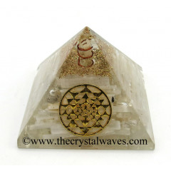 Selenite Chips Orgone Pyramid With Yantra Symbol