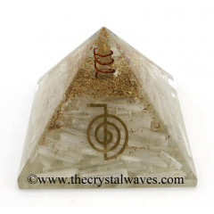 Selenite Chips Orgone Pyramid With Cho Ku Rei Symbol
