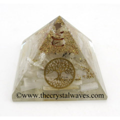 Selenite Chips Orgone Pyramid With Tree Of Life Symbol