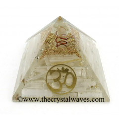 Selenite Chips Orgone Pyramid With Om Symbol