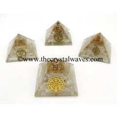 Selenite Chips Orgone Pyramid With Mix Assorted Symbol