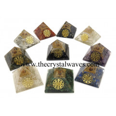 Gemstone Chips Mix Assorted Orgone Pyramids With Yantra Symbol