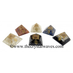 Gemstone Chips Mix Assorted Orgone Pyramids With Cho Ku Rei Symbol