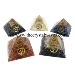 Gemstone Chips Mix Assorted Orgone Pyramids With Om Symbol