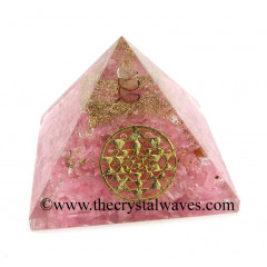 Rose Quartz Chips Orgone Pyramid With Yantra Symbol