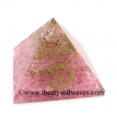 Rose Quartz Chips Orgone Pyramid With Om Symbol