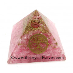 Rose Quartz Chips Orgone Pyramid With Tree Of Life Symbol
