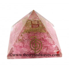 Rose Quartz Chips Orgone Pyramid With Cho Ku Rei Symbol