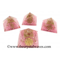 Rose Quartz Chips Orgone Pyramid With Mix Assorted  Symbol