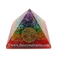 7 Chakra Layerd Dyed Quartz Chips Orgone Pyramid With Tree Of Life Symbol