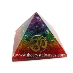 7 Chakra Layerd Dyed Quartz Chips Orgone Pyramid With Om Symbol