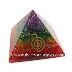 7 Chakra Layerd Dyed Quartz Chips Orgone Pyramid With Cho Ku Rei Symbol