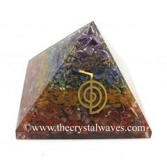 7 Chakra Layerd Chips Orgone Pyramid With Cho Ku Rei Symbol