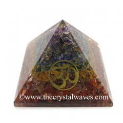 7 Chakra Layerd Chips Orgone Pyramid With Om Symbol