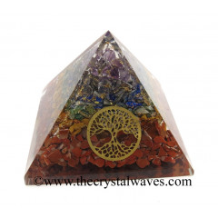 7 Chakra Layerd Chips Orgone Pyramid With Tree Of Life Symbol