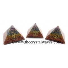 7 Chakra Layerd Chips Orgone Pyramid With Mix Assorted Symbol