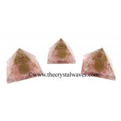 Rose Quartz Chips Orgone Pyramid With Flower Of Life Symbol