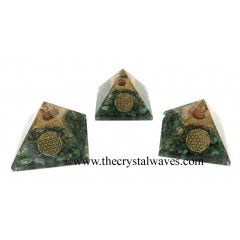 Green Aventurine Chips Orgone Pyramid With Flower Of Life Symbol