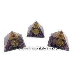 Amethyst Chips Orgone Pyramid With Flower Of Life Symbol