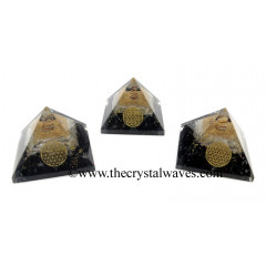 Black Tourmaline & Selenite Chips Orgone Pyramid With Flower Of Life Symbol