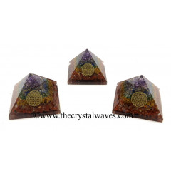 7 Chakra Layered Chips Orgone Pyramid With Flower Of Life Symbol
