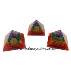 7 chakra Layered Dyed Quartz Chips Orgone Pyramid With Flower Of Life Symbol