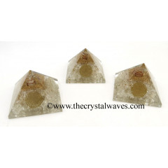 Crystal Quartz Chips Chips Orgone Pyramid With Flower Of Life Symbol