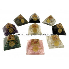 Gemstone Chips Mix Assorted Orgone Pyramid With Flower Of Life Symbol