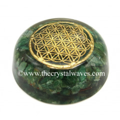 Green Aventurine Chips Orgone Dome / Paper Weight With Flower Of Life Symbol