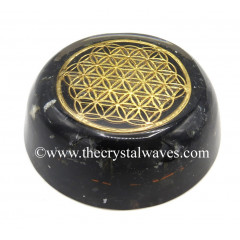 Black Tourmaline Chips Orgone Dome / Paper Weight With Flower Of Life Symbol