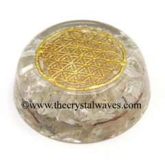 Crystal Quartz Chips Orgone Dome / Paper Weight With Flower Of Life Symbol