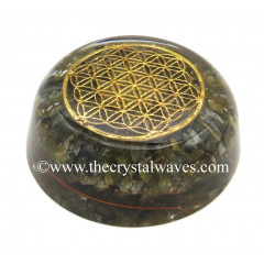 Labradorite Chips Orgone Dome / Paper Weight With Flower Of Life Symbol