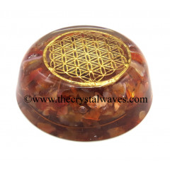 Carnelian Chips Orgone Dome / Paper Weight With Flower Of Life Symbol