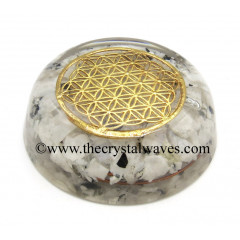 Rainbow Moonstone Chips Orgone Dome / Paper Weight With Flower Of Life Symbol