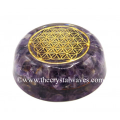 Amethyst Chips Orgone Dome / Paper Weight With Flower Of Life Symbol