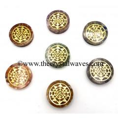 Orgone Round Cabochon Chakra Set With Yantra Symbol