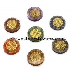 Orgone Round Cabochon Chakra Set With Flower Of Life Symbol