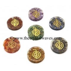 Orgone Round Cabochon Chakra Set With Cho Ku Rei Symbol
