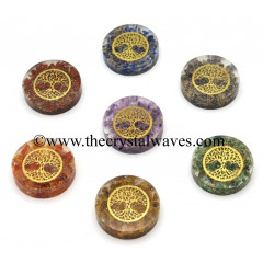 Orgone Round Cabochon Chakra Set With Tree Of Life Symbol