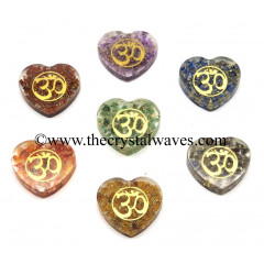 Orgone Heart Shape Chakra Set With Om Symbol