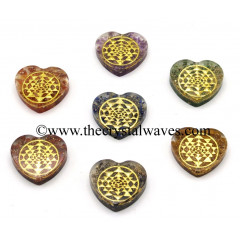 Orgone Heart Shape Chakra Set With Yantra Symbol