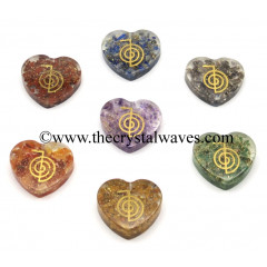 Orgone Heart Shape Chakra Set With Cho Ku Rei Symbol