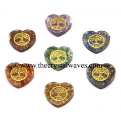 Orgone Heart Shape Chakra Set With Tree Of Life Symbol